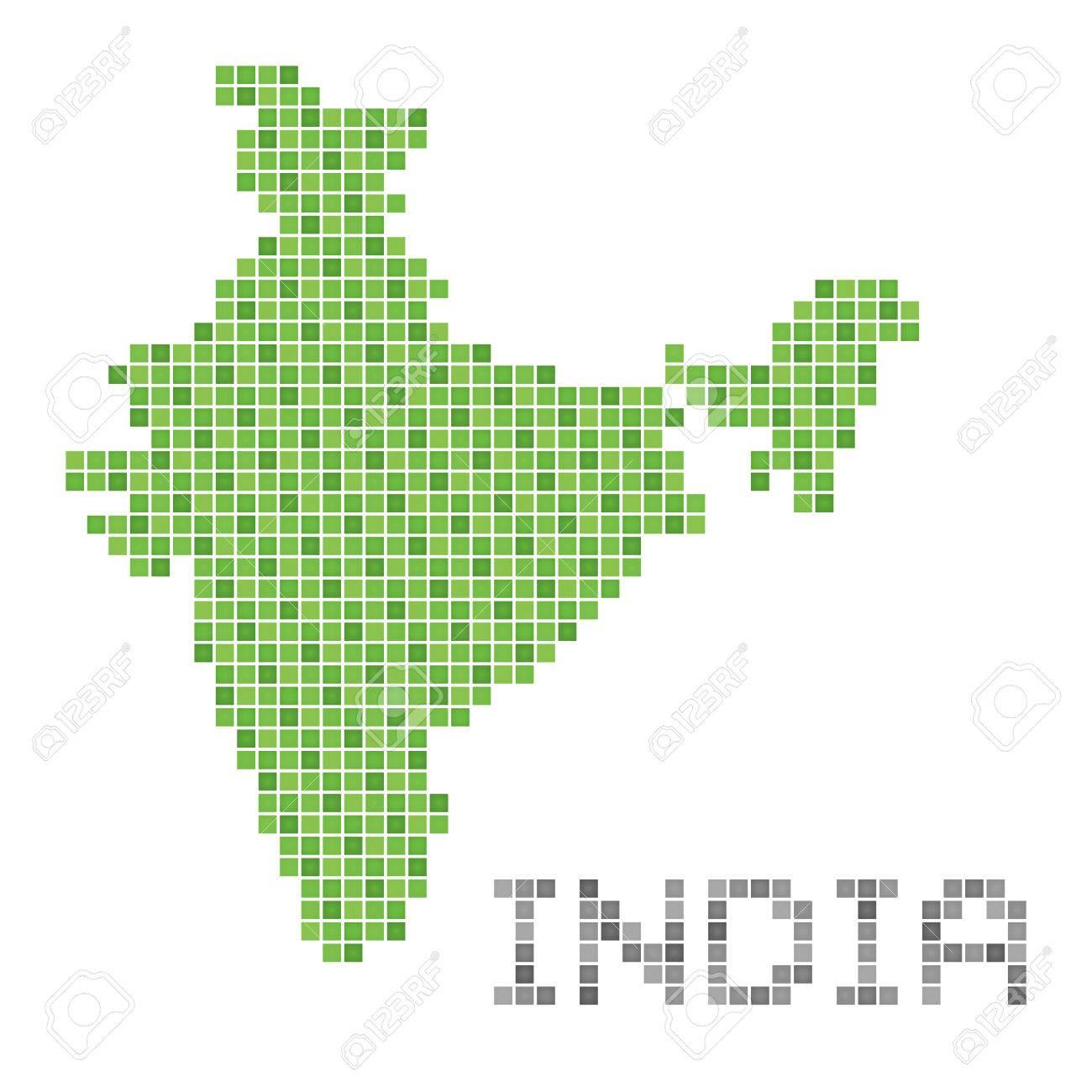 Pixel Art Of India Green