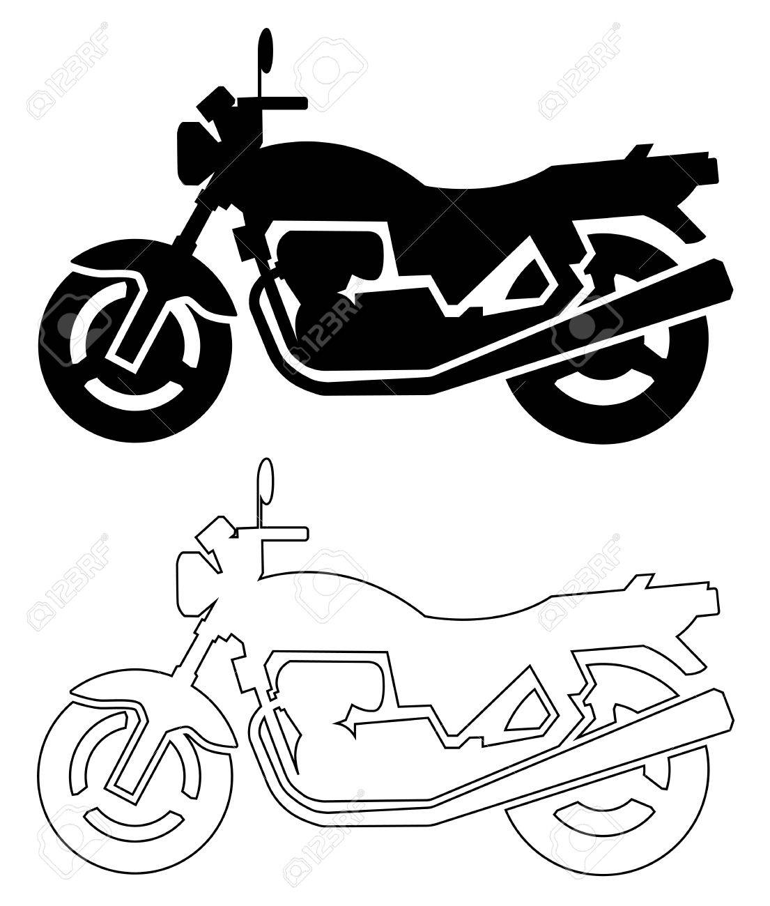 silhouette of motorcycle black and line - 54015960