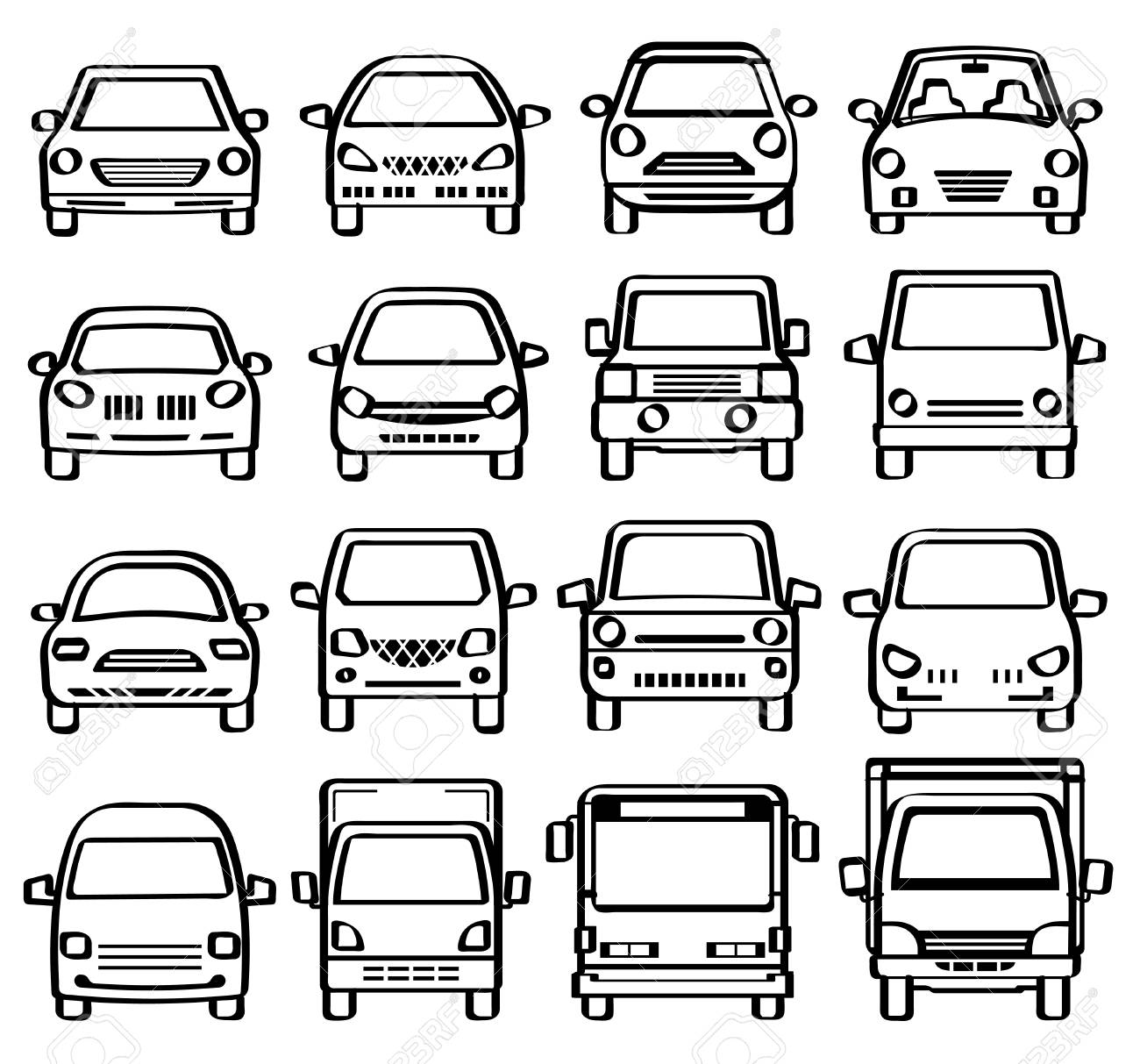 A Front View Of Cars-line Drawing Like Pen Sketch- Royalty Free ...