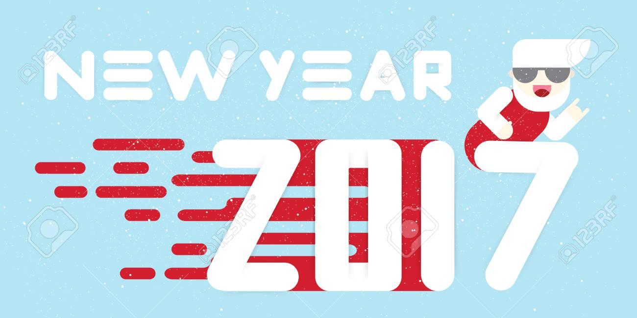 Año Nuevo 2017 De La Bandera. Diseño Plano. Letras Blancas Grandes ...