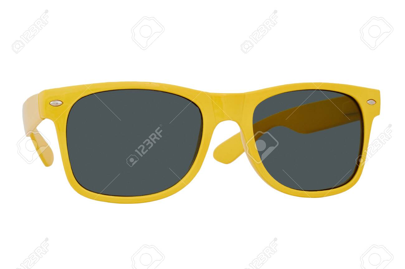 Sunglasses with a yellow plastic frame and black lenses isolated on white background. - 151265884