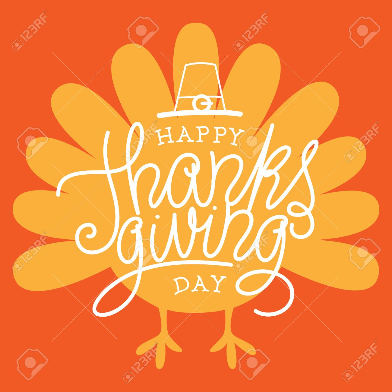 Happy Thanksgiving Day >> Happy Thanksgiving Day Vector Illustration With Hand Lettered