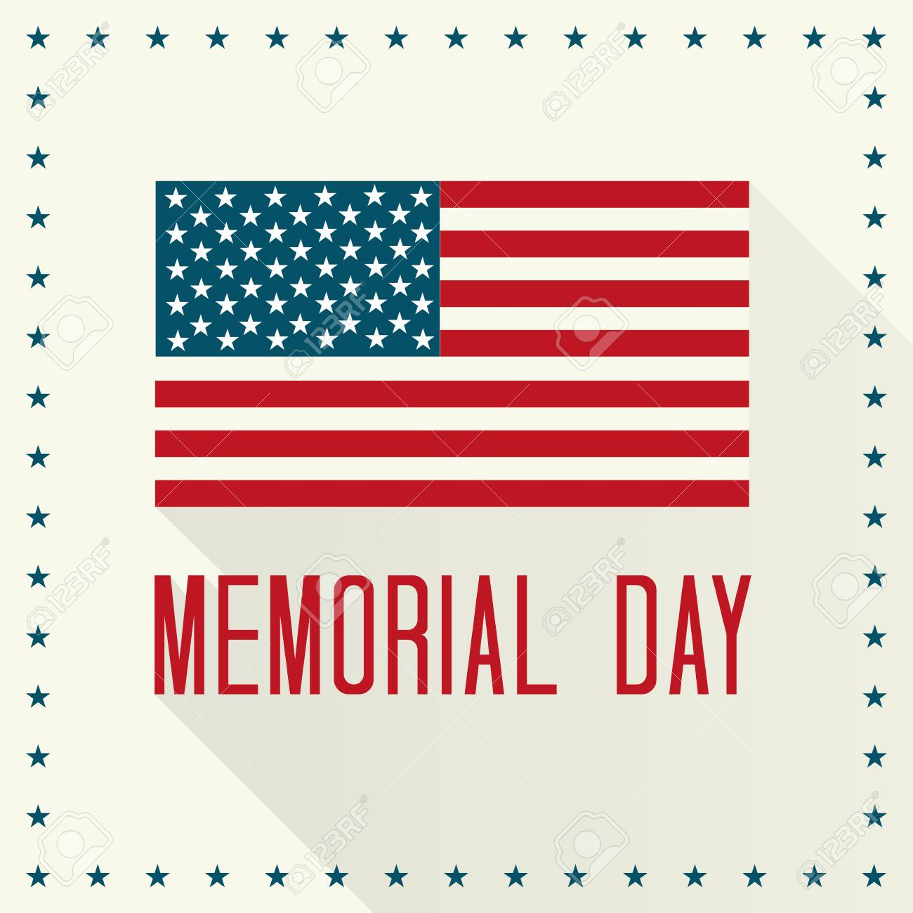 記念日イラストアメリカの国旗と長い影とテキストのイラスト素材