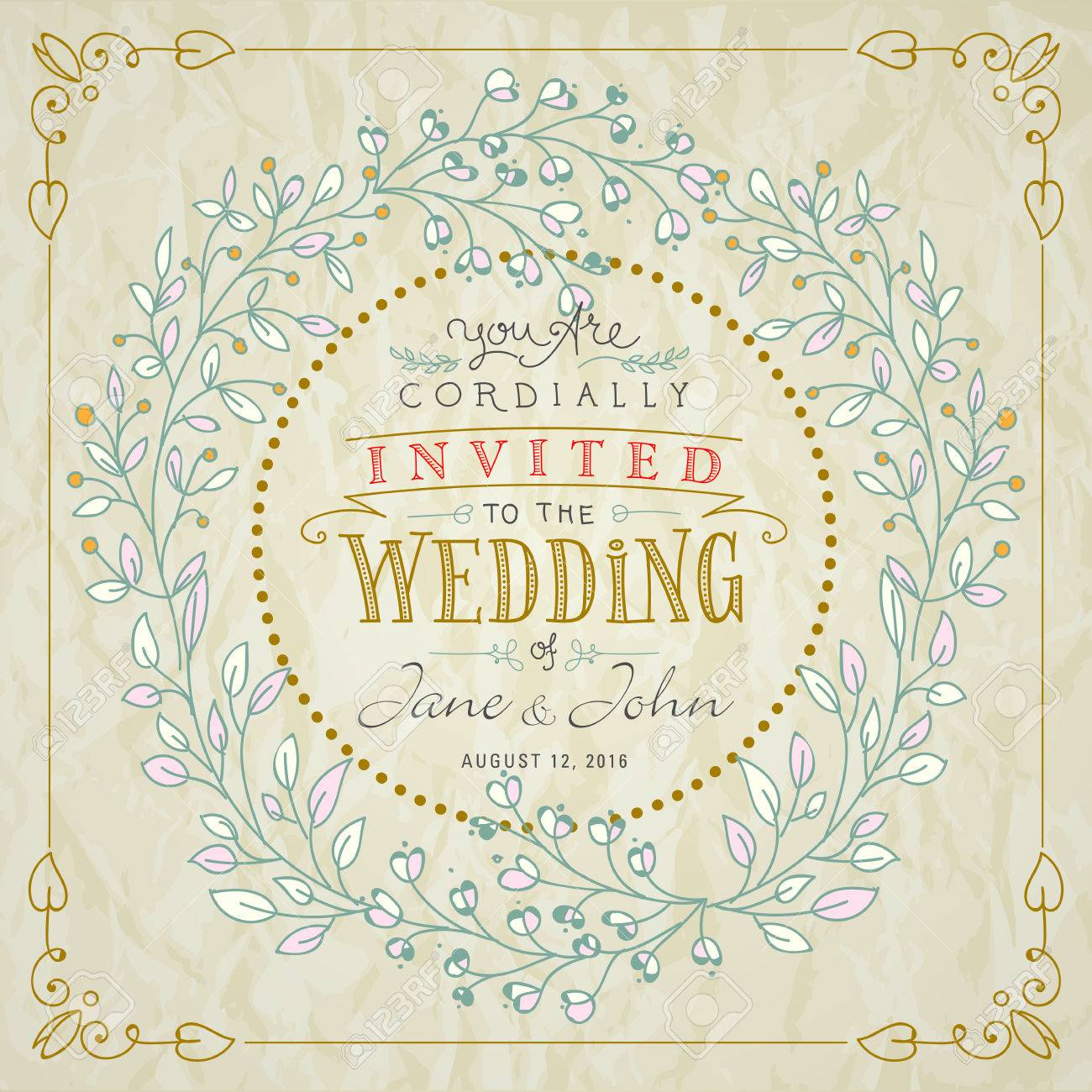 Wedding Invitation Hand Lettered Text With Hand Drawn Frame