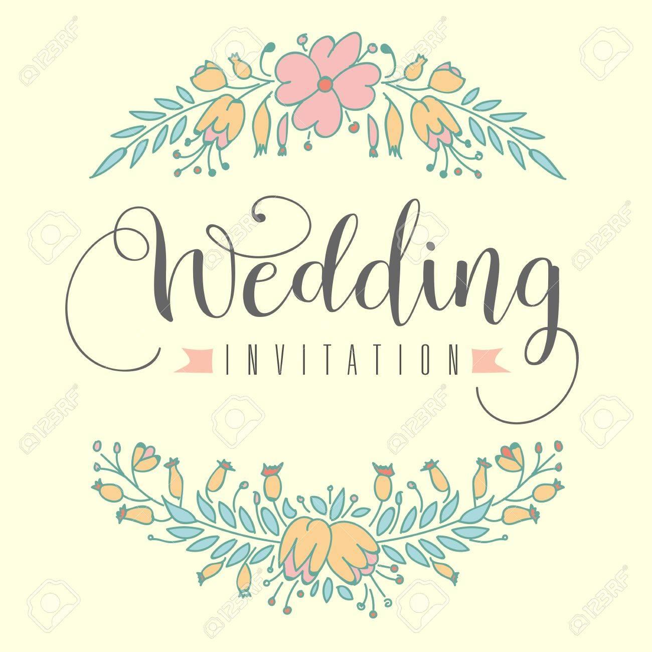 Wedding invitation hand letter with flowers vector illuatration banco de imagens wedding invitation hand letter with flowers vector illuatration stopboris Images