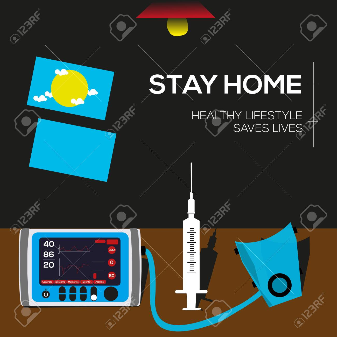 Stay home, protect your life. Vector illustration with needle, air mask, table, fan, window elements. - 149451006