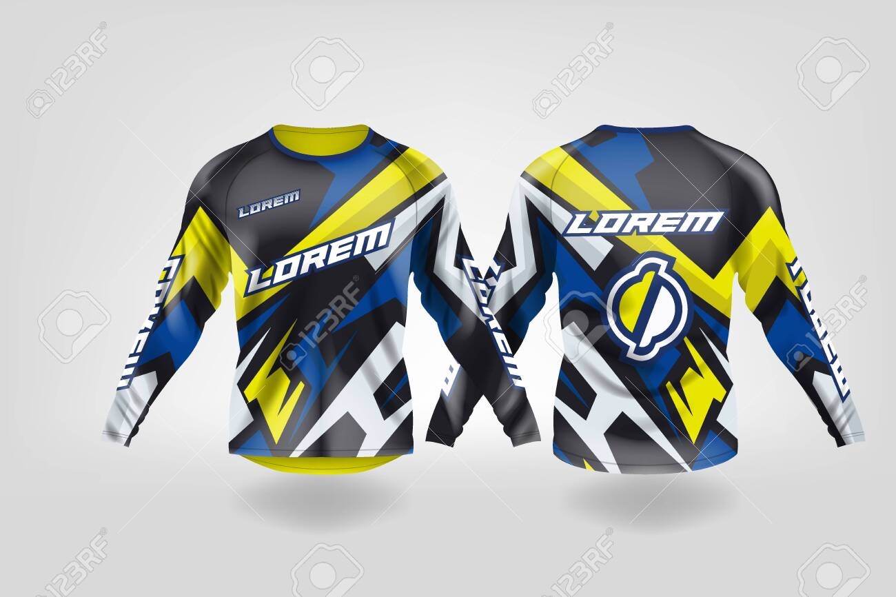 T Shirt Sport Design Template Long Sleeve Soccer Jersey Mockup Royalty Free Cliparts Vectors And Stock Illustration Image 130417666