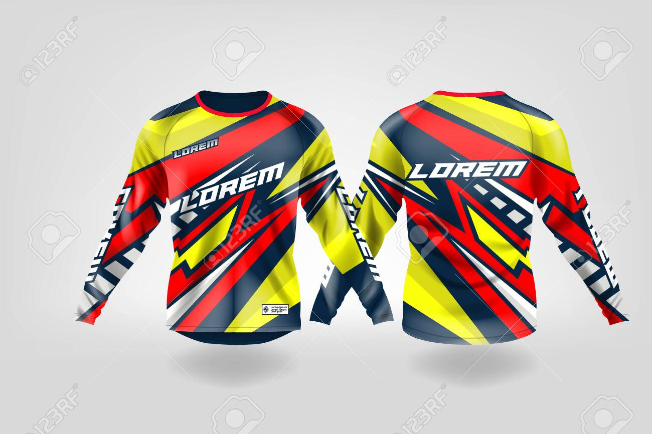 T Shirt Sport Design Template Long Sleeve Soccer Jersey Mockup Royalty Free Cliparts Vectors And Stock Illustration Image 130417671