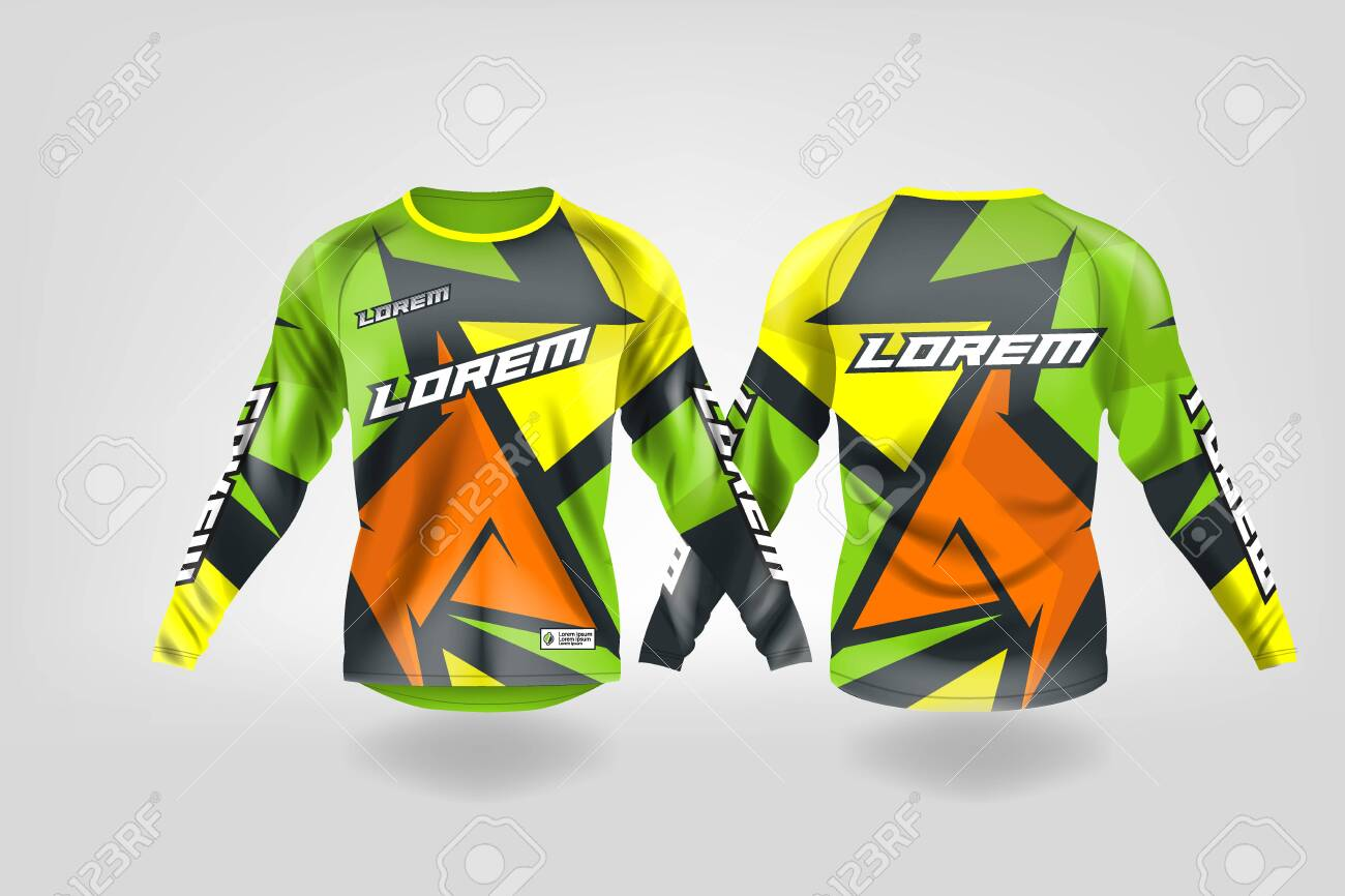 t-shirt sport design template, Long sleeve soccer jersey mockup for football club. uniform front and back view,Motocross jersey,MTB jersey. - 130417792
