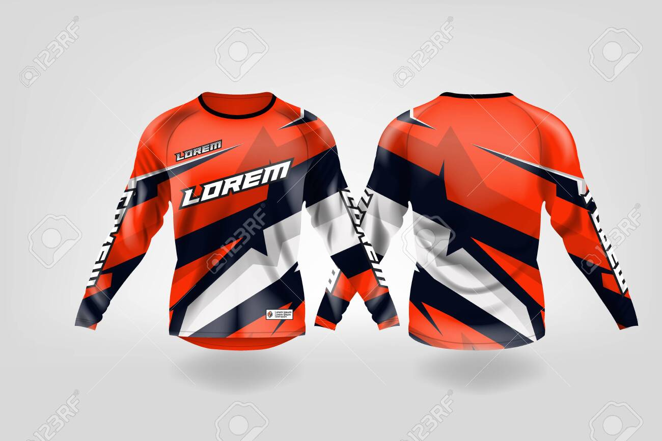 T Shirt Sport Design Template Long Sleeve Soccer Jersey Mockup Royalty Free Cliparts Vectors And Stock Illustration Image 130417923