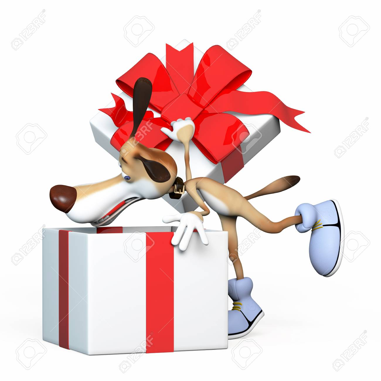 The dog looks for gifts. Put gifts please. Stock Photo - 19195257