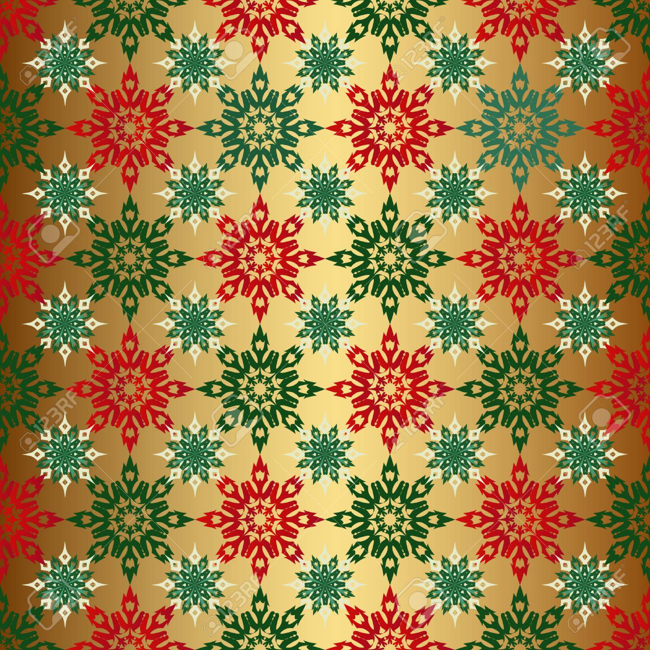 Seamless Christmas Background Gold Color With Red And Green