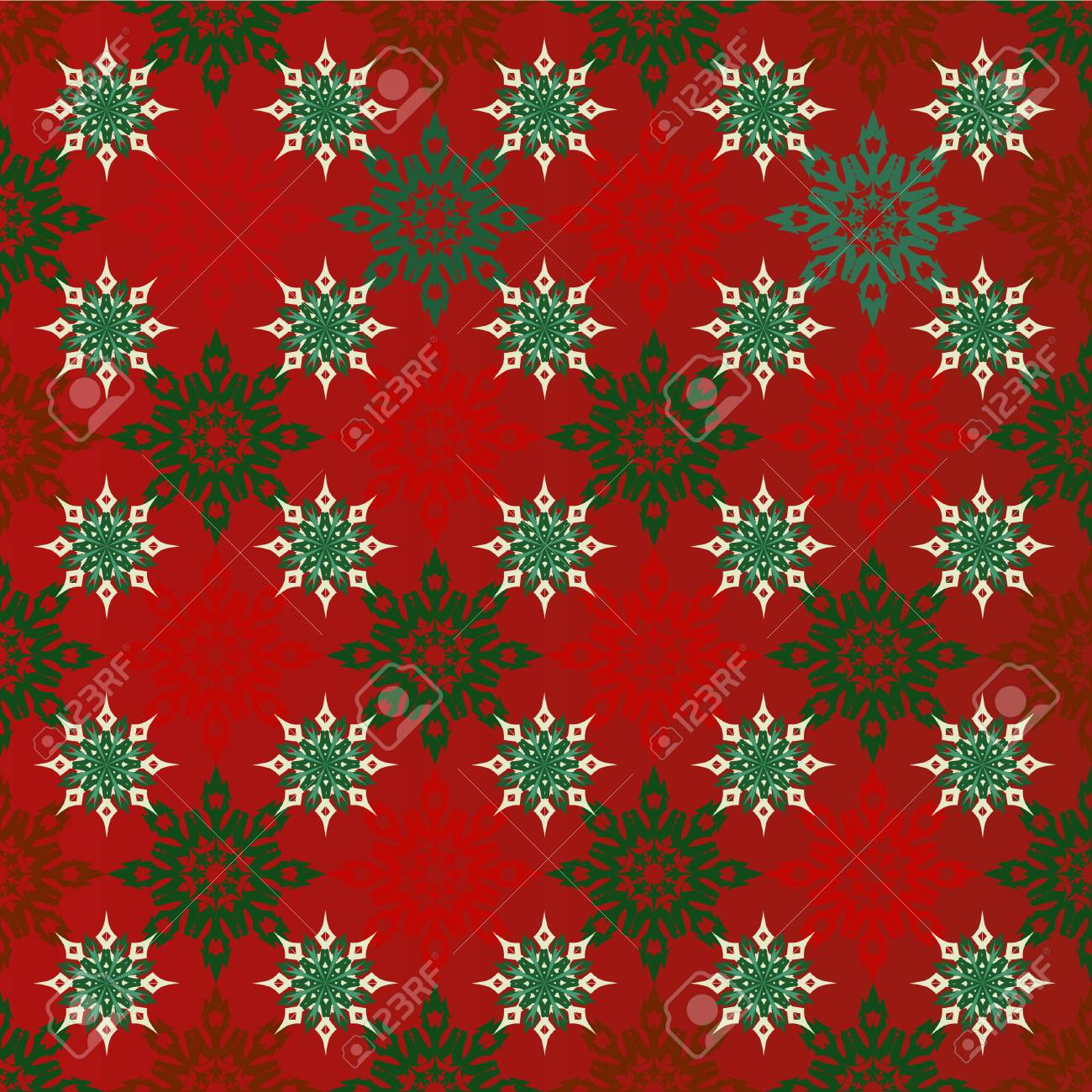 Christmas Seamless Red Background With Red And Green Snowflakes