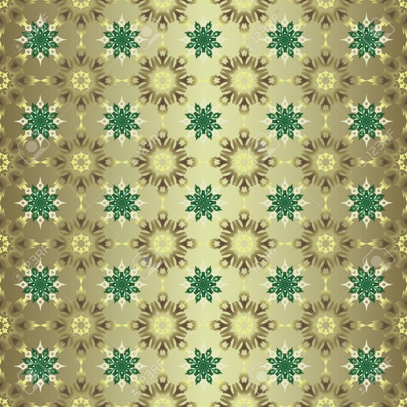 Seamless Christmas Background With Snowflakes Gold Colored Wallpaper Stock Vector