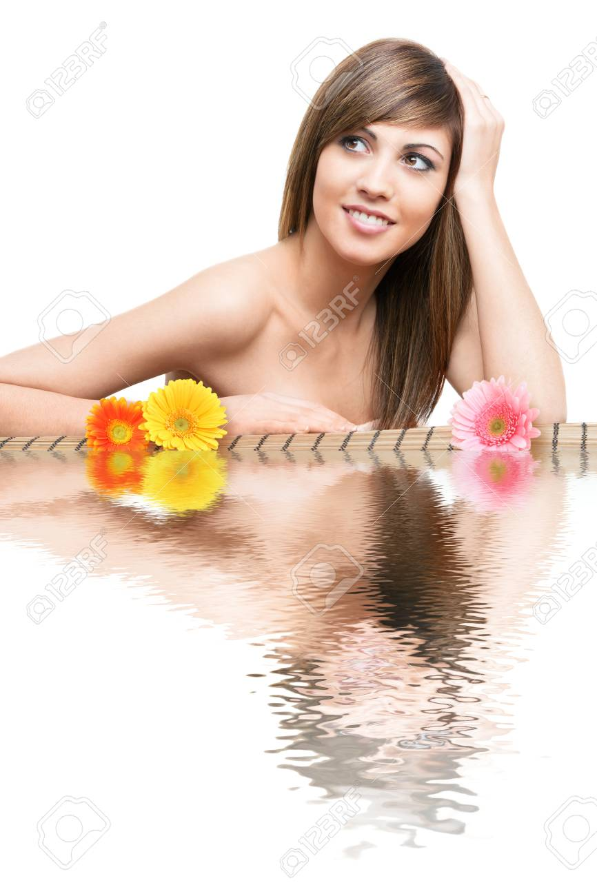 Close up beauty Portrait of young woman with water reflection and flowers. Stock Photo - 13112144