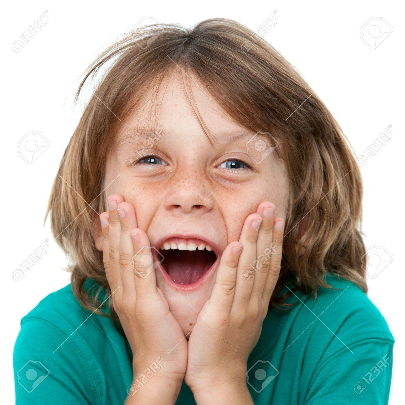 Close up portrait of boy with surprising face expression.Isolated on white. Stock Photo - 16234447