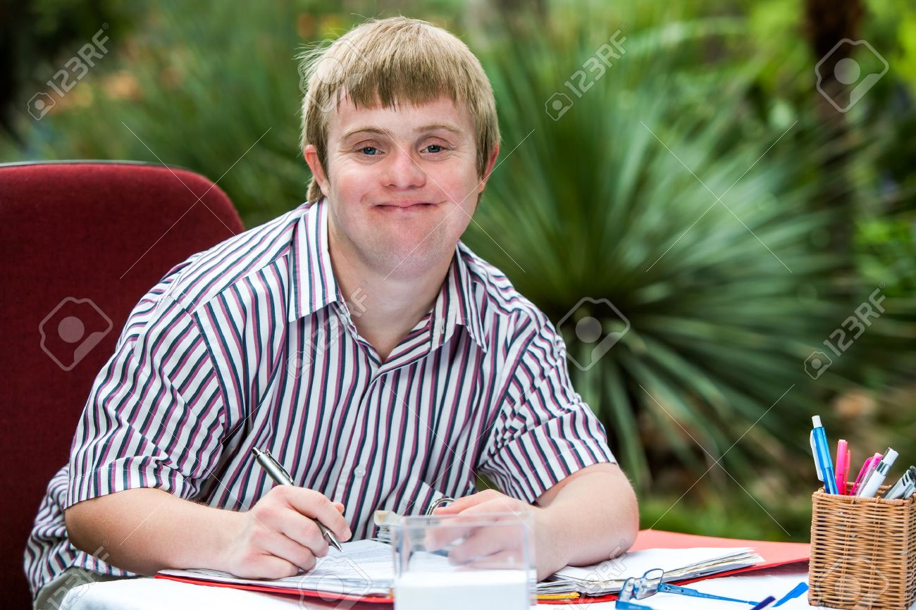 Coloring pages for down syndrome adults - Down Syndrome Adult Close Up Portrait Of Young Male Student With Down Syndrome At Study