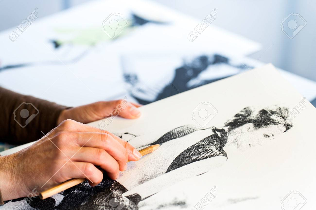 Extreme Close Up Of Female Fashion Designers Hand Creating Fashion Stock Photo Picture And Royalty Free Image Image 37426907