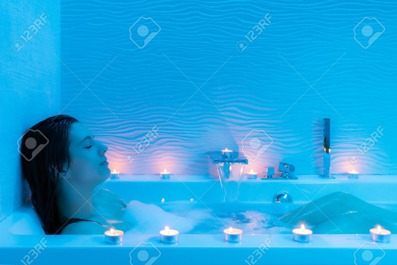 Close Up Portrait Of Young Woman Relaxing In Hot Foam Bath At ...