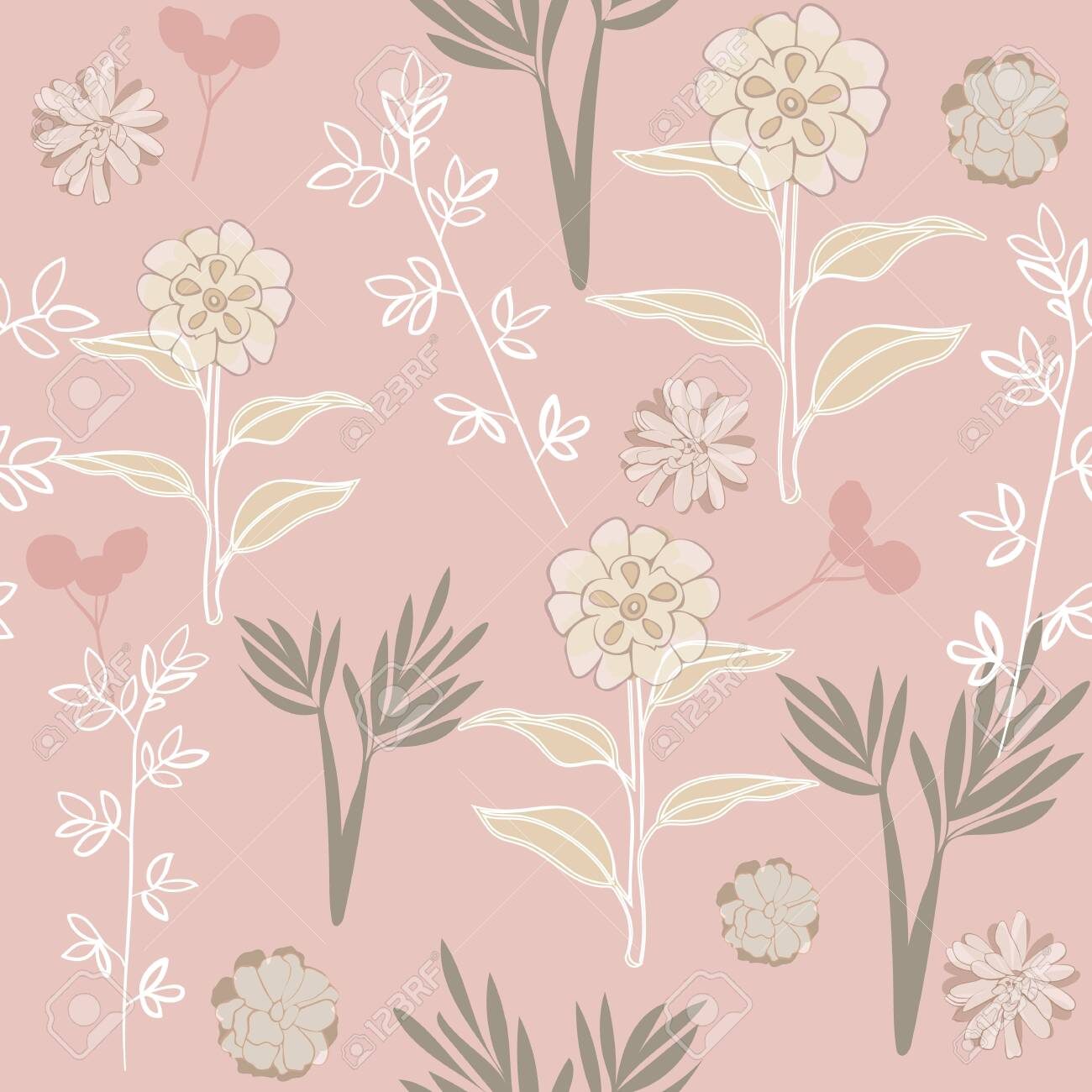 Blush Floral Seamless Repeat Pattern Vector Background Perfect