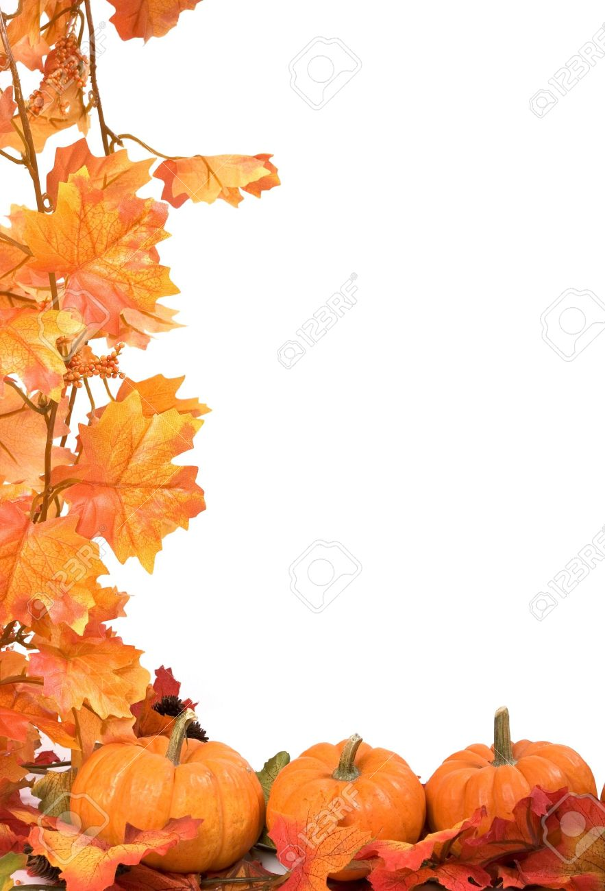 Pumpkins on white background with fall leaves frame Stock Photo - 576193