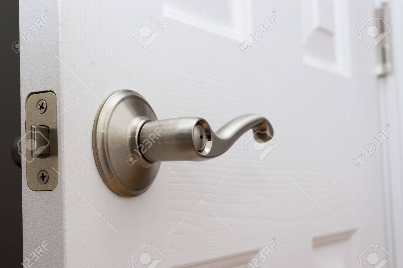 Lever Door Handle With Child Safety Lock Stock Photo   576171