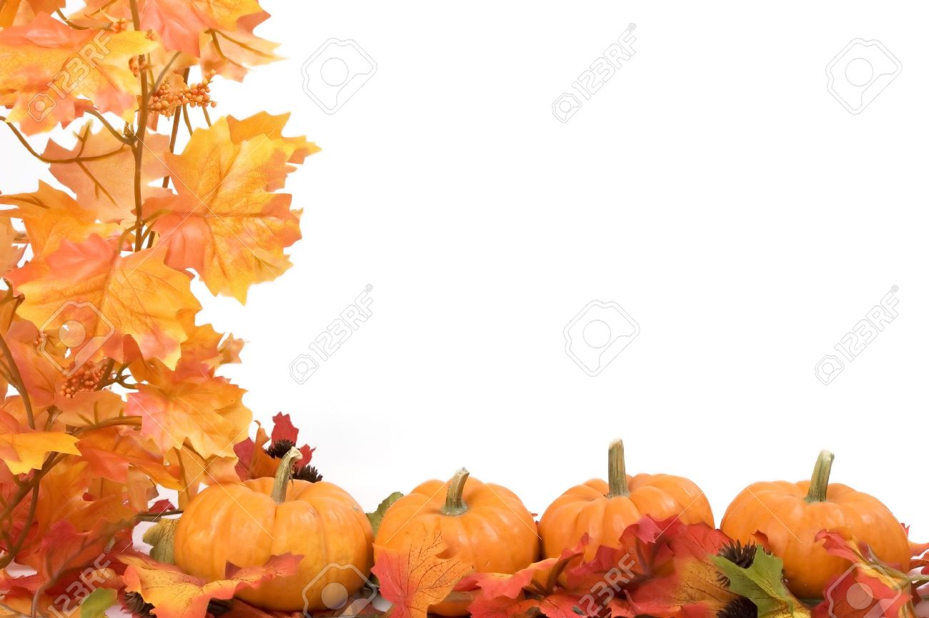 Pumpkins on white background with fall leaves frame Stock Photo - 600249