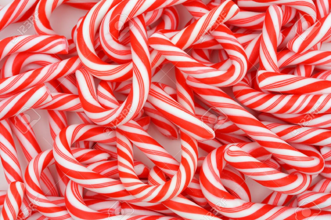 A Christmas Background Of Mini Candy Canes Stock Photo, Picture ...