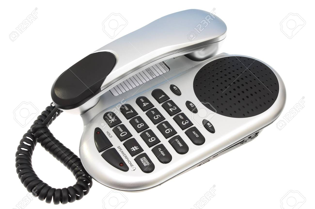 Grey and Black Telephone on a isolated white background Stock Photo - 1859603