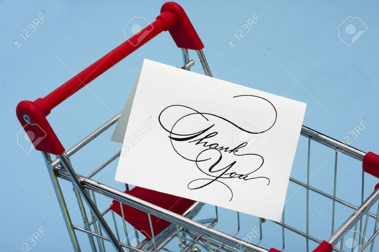 Shopping Cart With Thank You Card Thank You For Shopping Stock