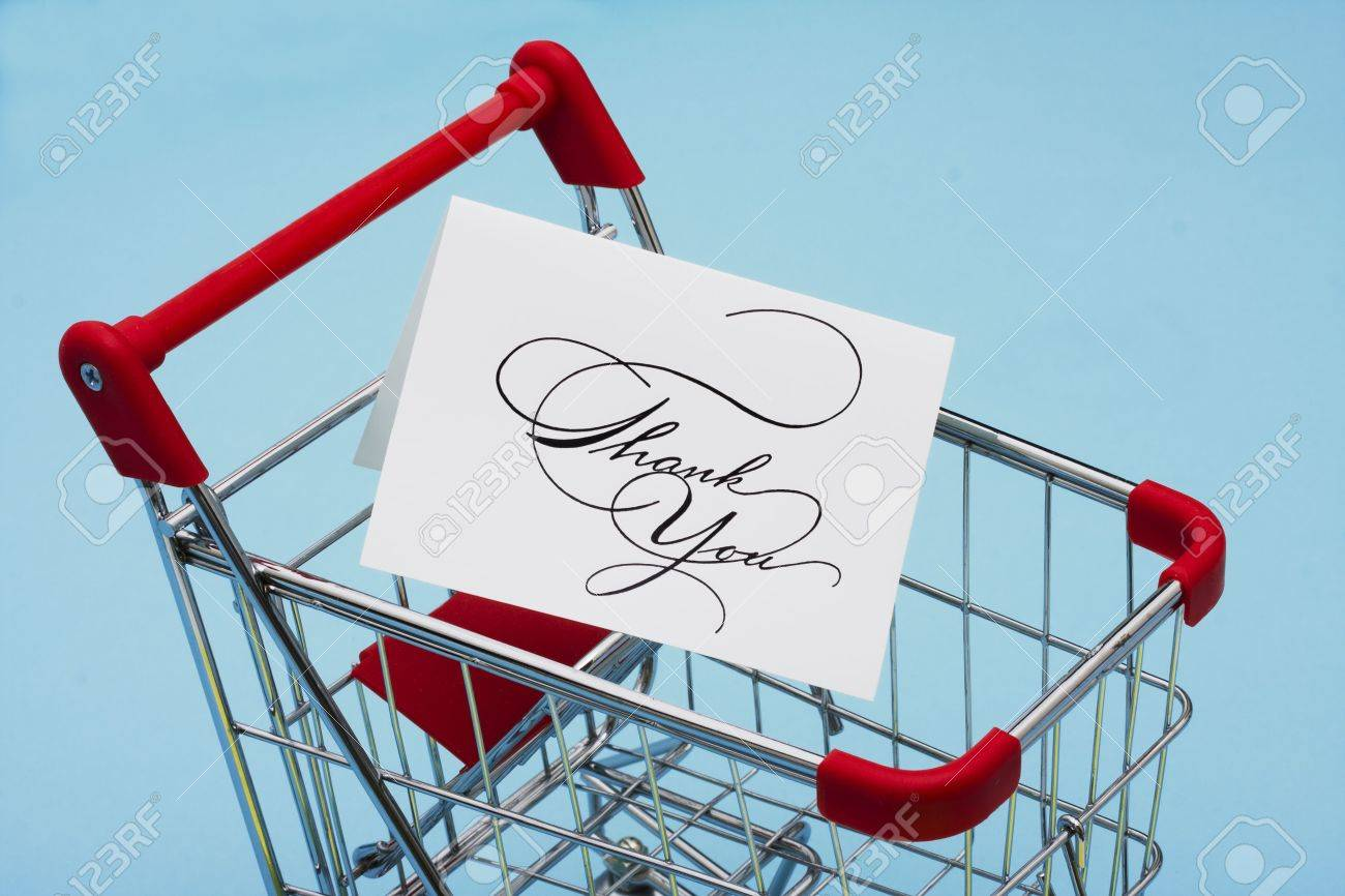 Shopping Cart With A Thank You Card Stock Photo Picture And Royalty
