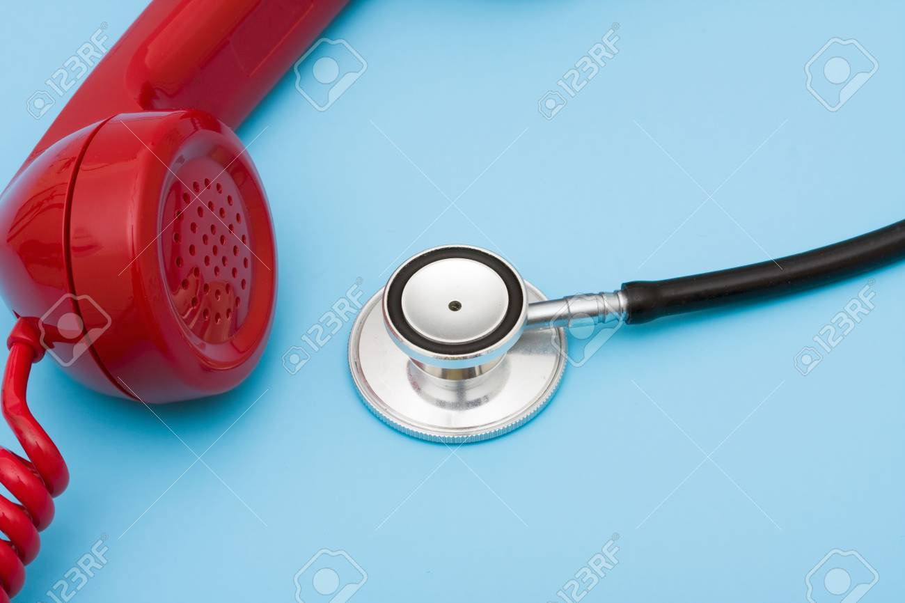 Stethoscope with telephone � help with your medical questions Stock Photo - 3466216