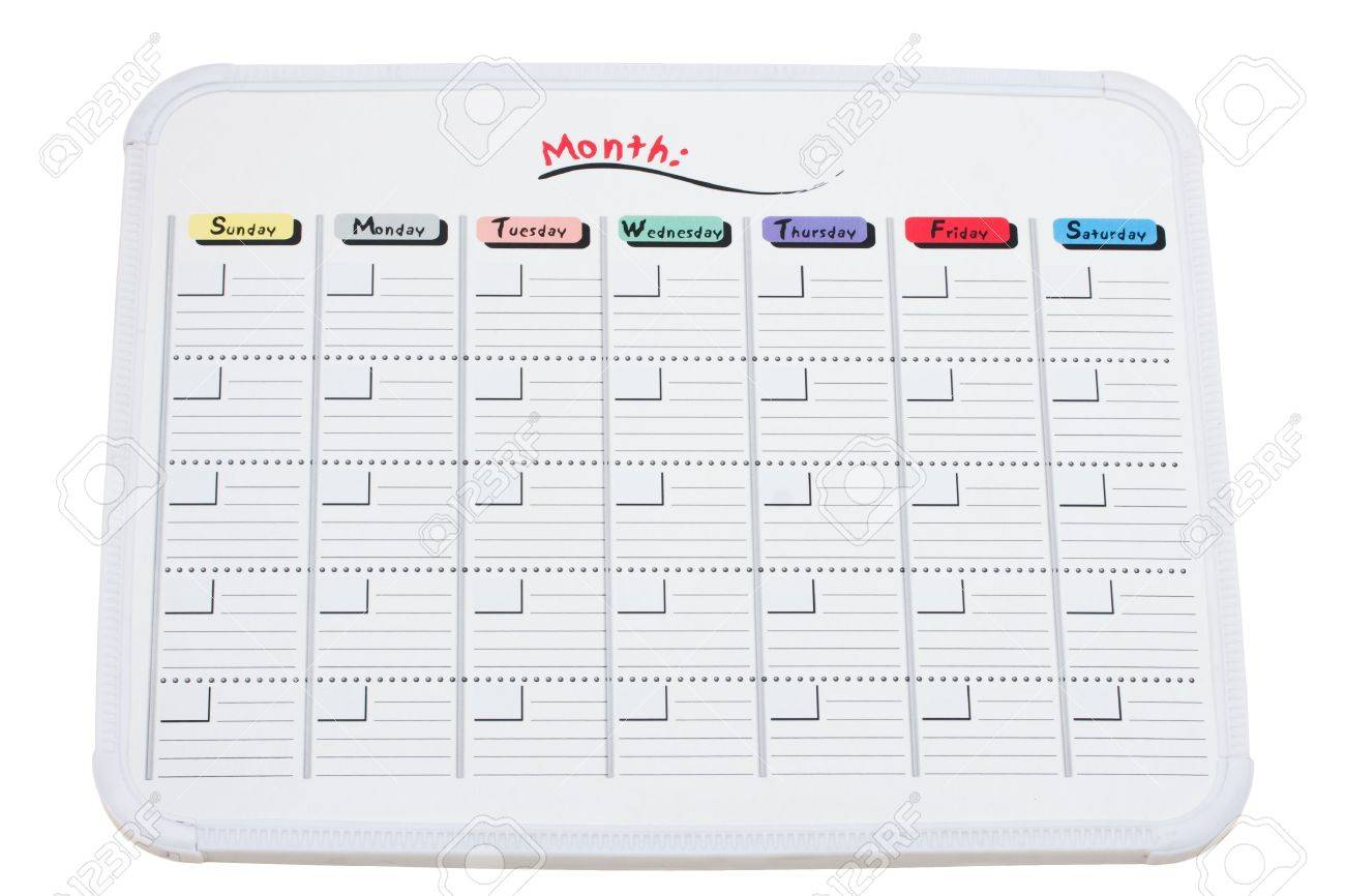 A Whiteboard Calendar Isolated On A White Background Whiteboard