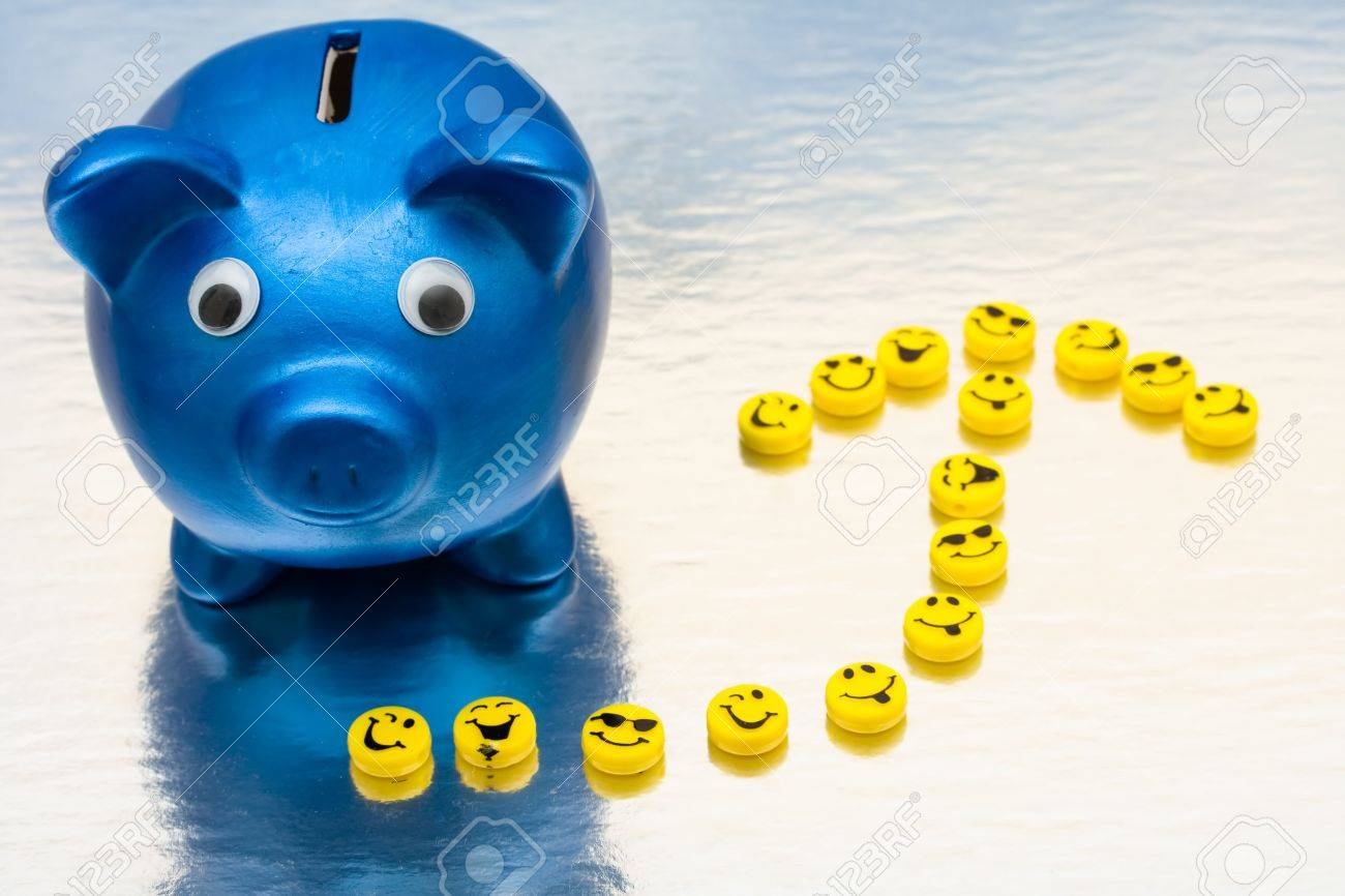 A blue piggy bank with smiley faces making an arrow on a shiny background, smile your saving Stock Photo - 5479491