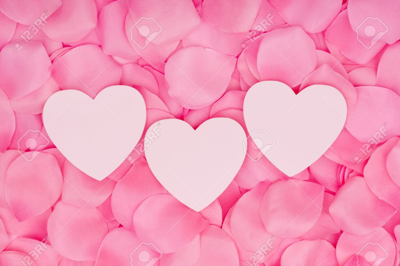 A Three Hearts Sitting On A Pink Flower Petal Background Love