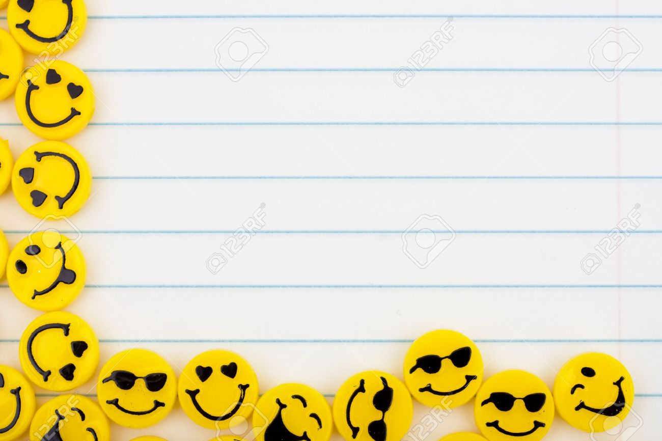 Lots Of Yellow Smiley Faces On A Lined Paper Background Happy – Loose Leaf Paper Background