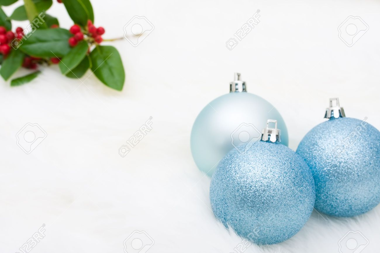White christmas tree ball ornaments - Blue Glass Christmas Ball Ornaments On A White Fur Background Christmas Balls Stock Photo