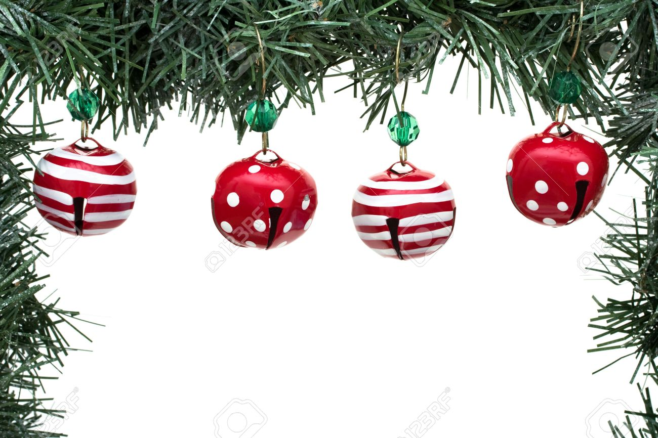 a green garland border with christmas bells isolated on a white