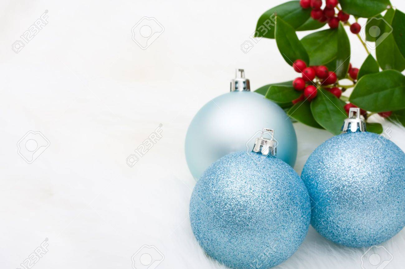 Blue Glass Christmas Ball Ornaments On A White Fur Background Balls Stock Photo