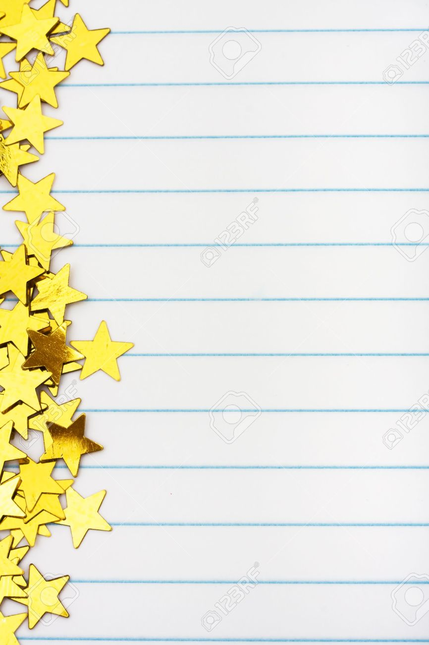 Gold Stars Making A Border On A Lined Paper Background Gold