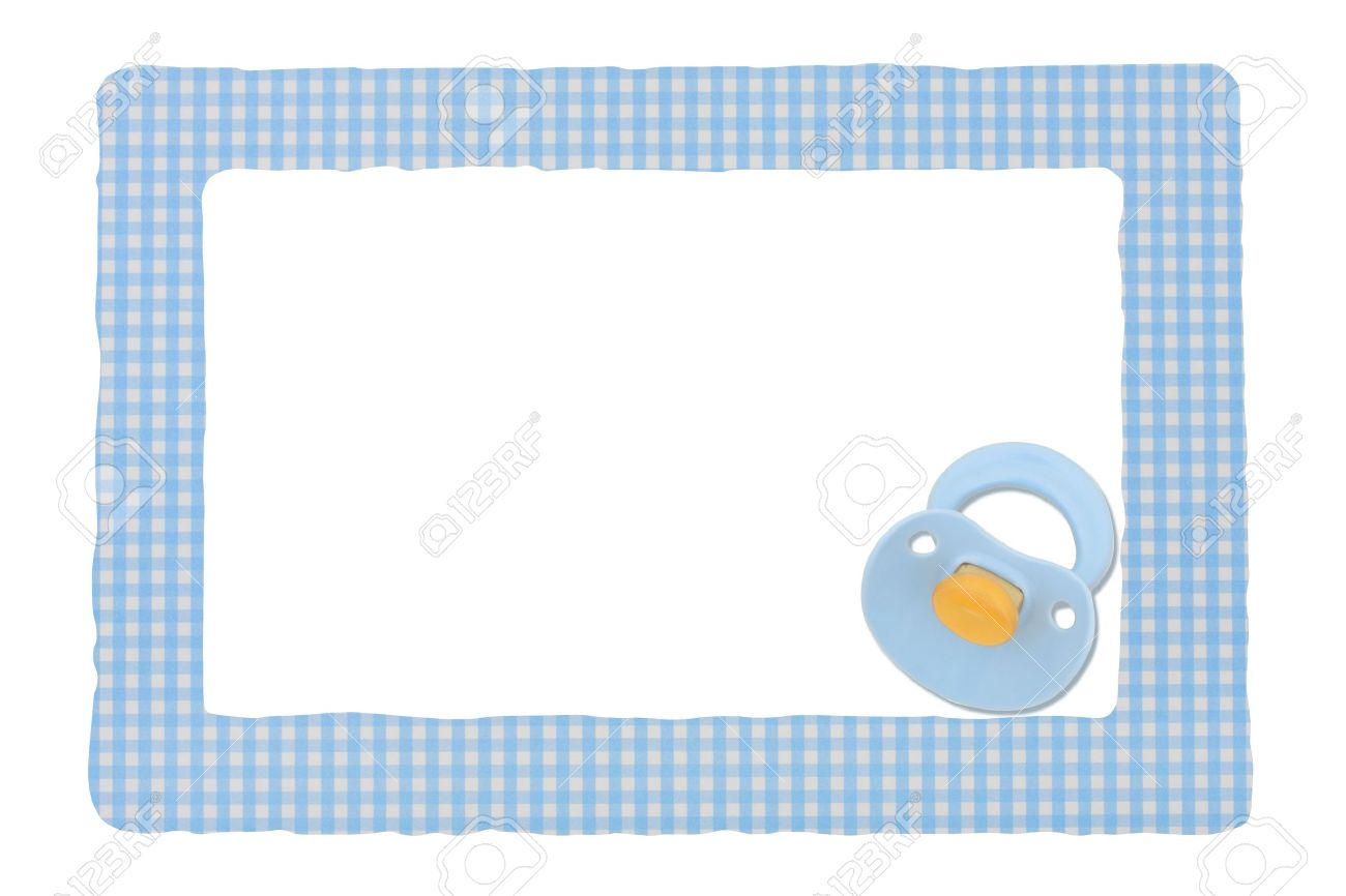 baby pacifier on a blue border isolated on a white background