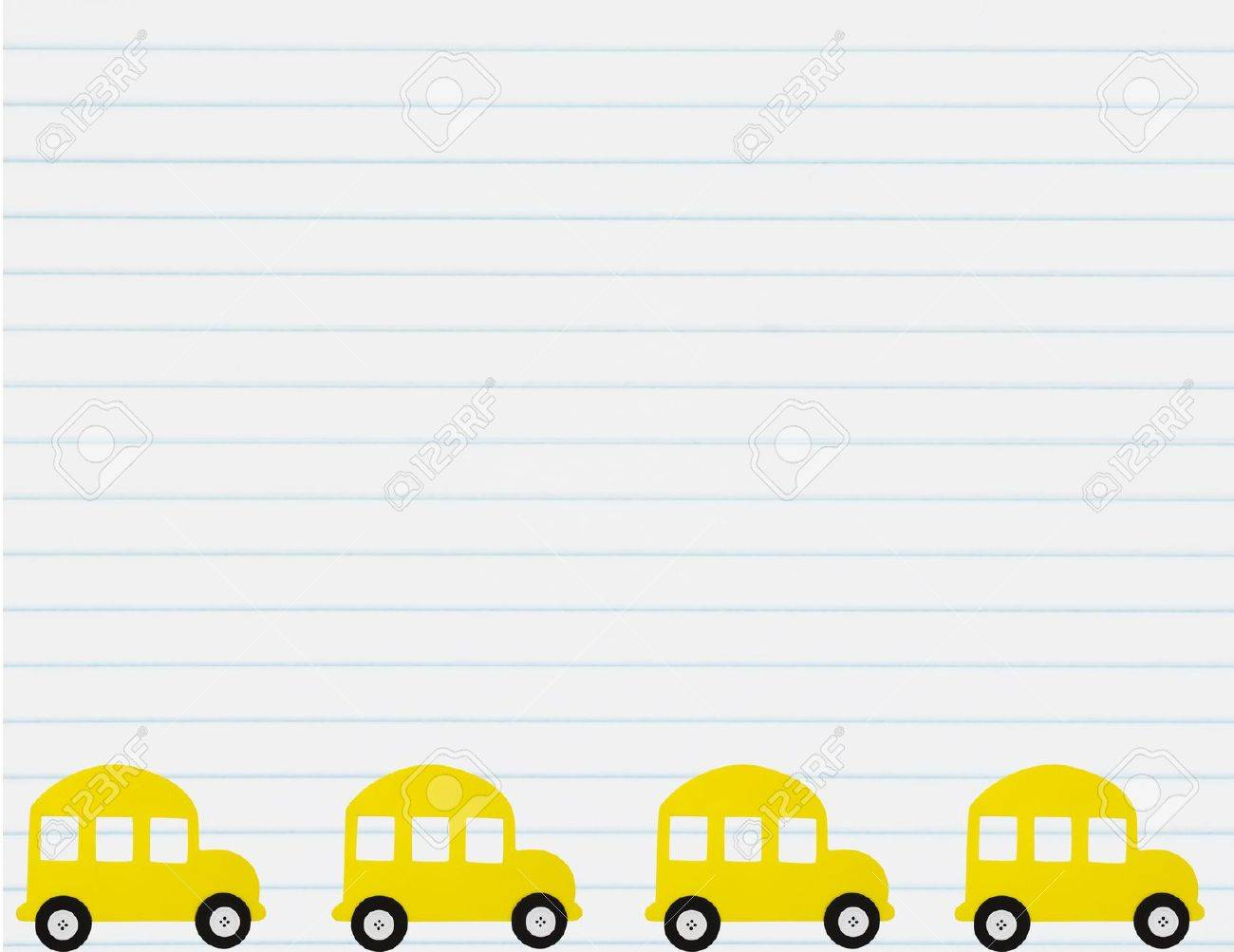 A School Bus Border With A Lined Paper Background School Bus – Line Paper Background