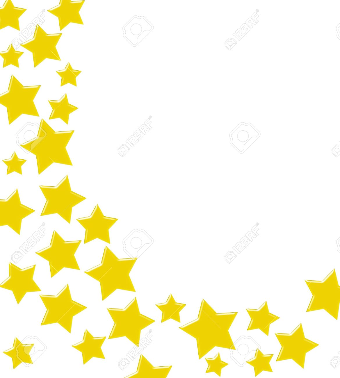 Goldenen Sternen Machen Einen Rahmen Auf Weißem Grund, Gewann Gold ...
