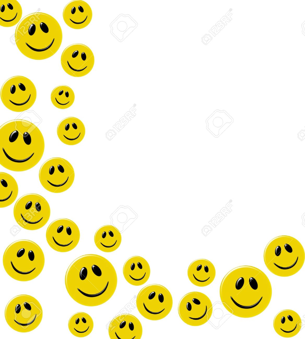 Lots of yellow smiley faces on a white background happy border lots of yellow smiley faces on a white background happy border stock photo 6477826 voltagebd Image collections
