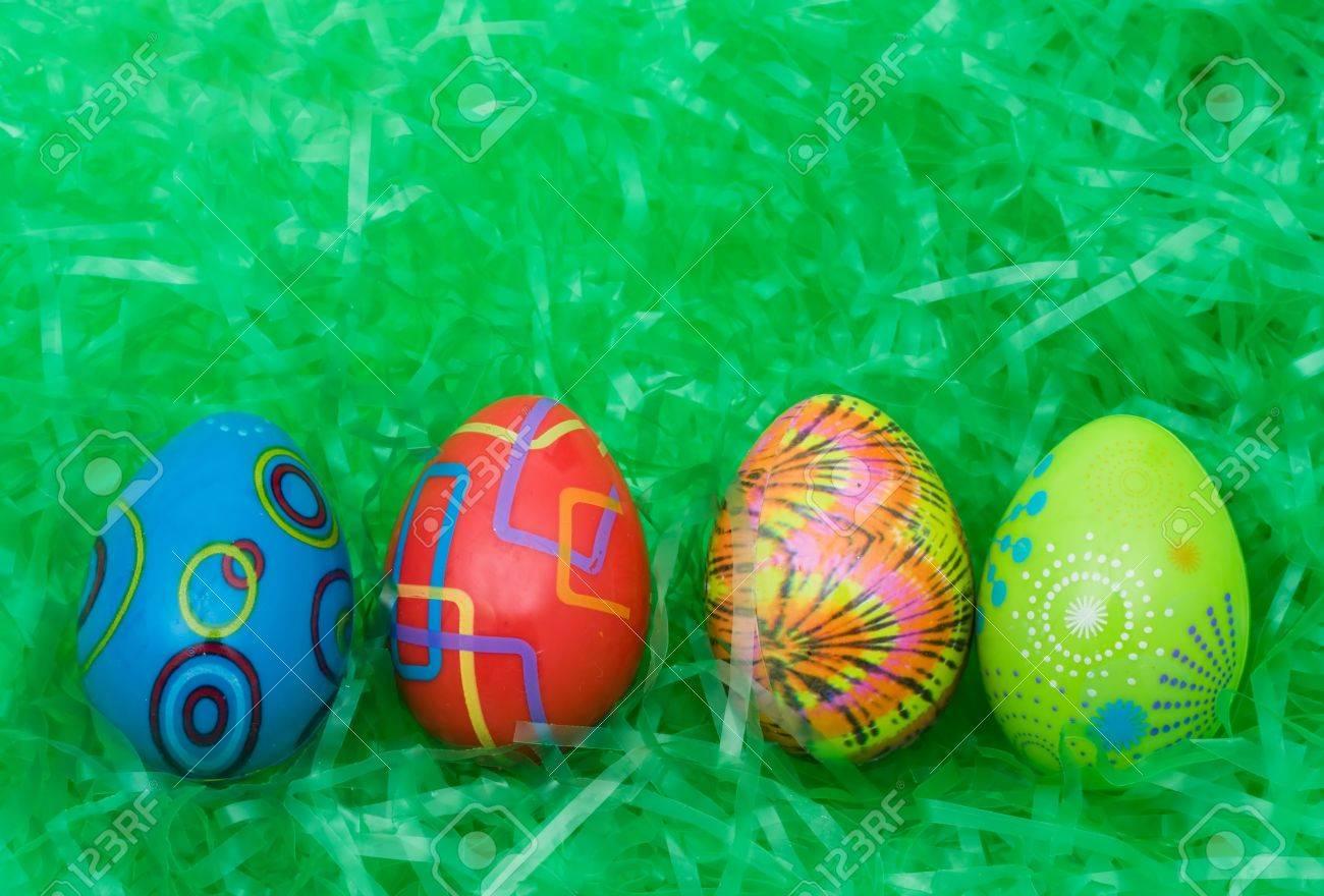 Plastic Easter Eggs Background