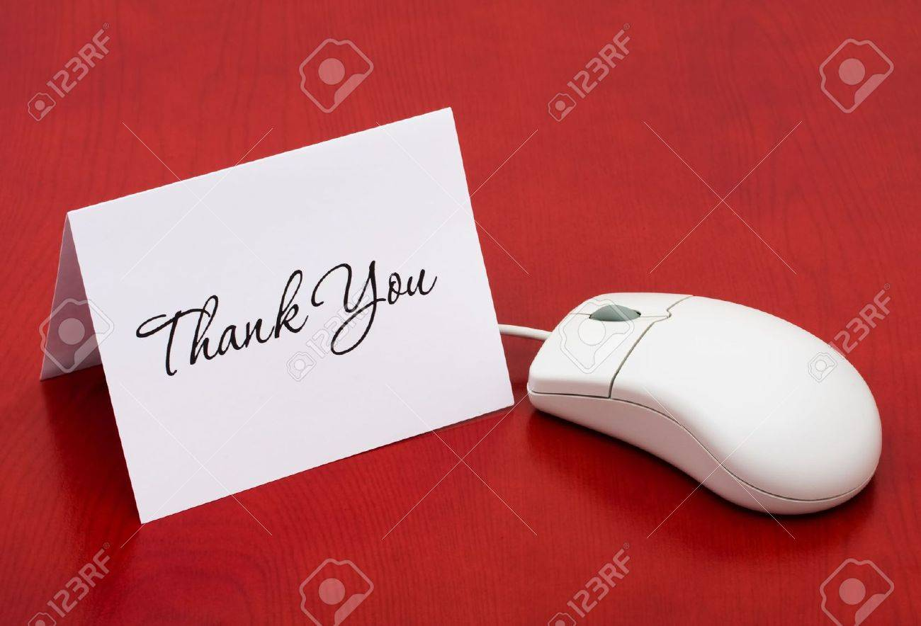 A computer mouse with a thank you card on a red background, Thank You for your online purchase Stock Photo - 6820444