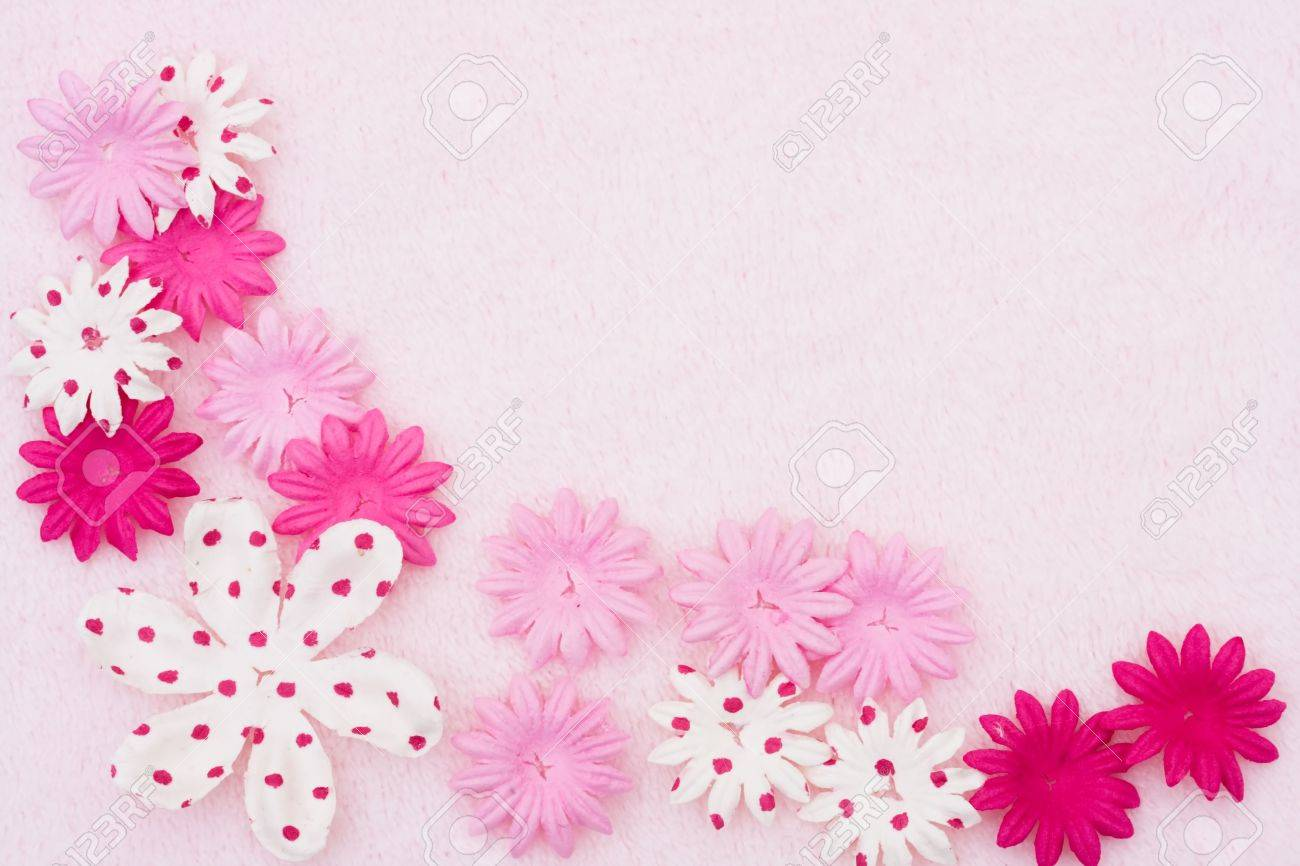 A Pink Flowers Making A Border On A Pink Background Pink Flower