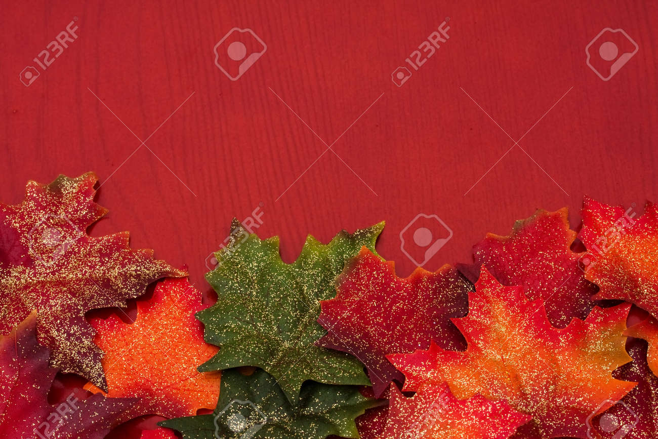 Fall leaves making a border on a red background, fall border Stock Photo - 7315616