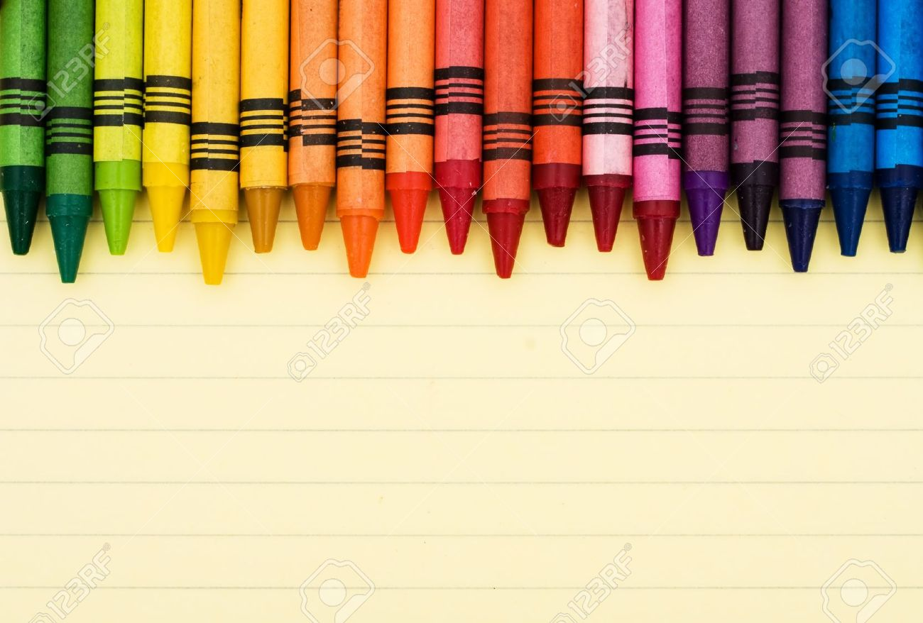 Colorful Crayons On A Sheet Of Lined Paper, Educational Background ...