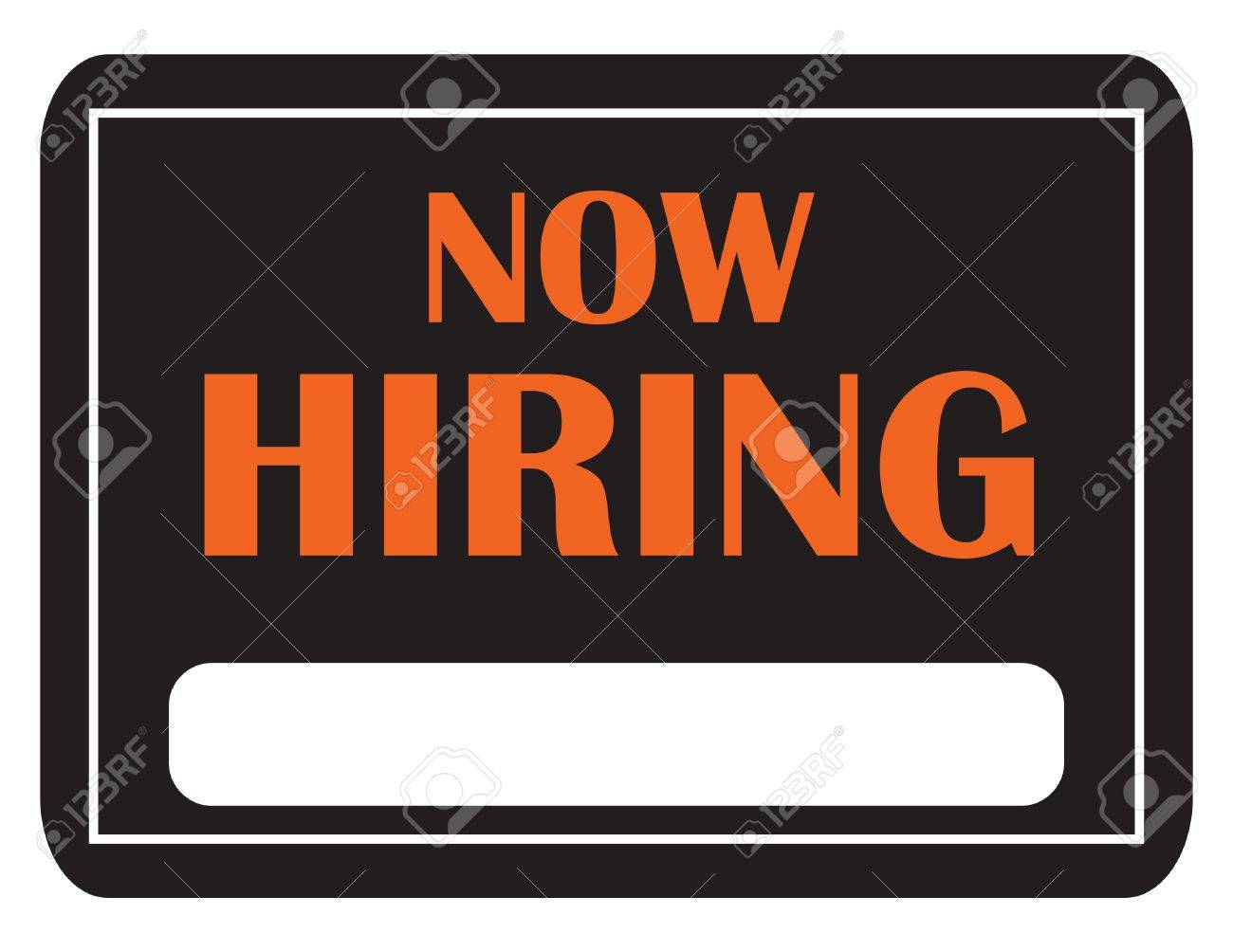 A black and orange now hiring sign with copy space Stock Photo - 7491684